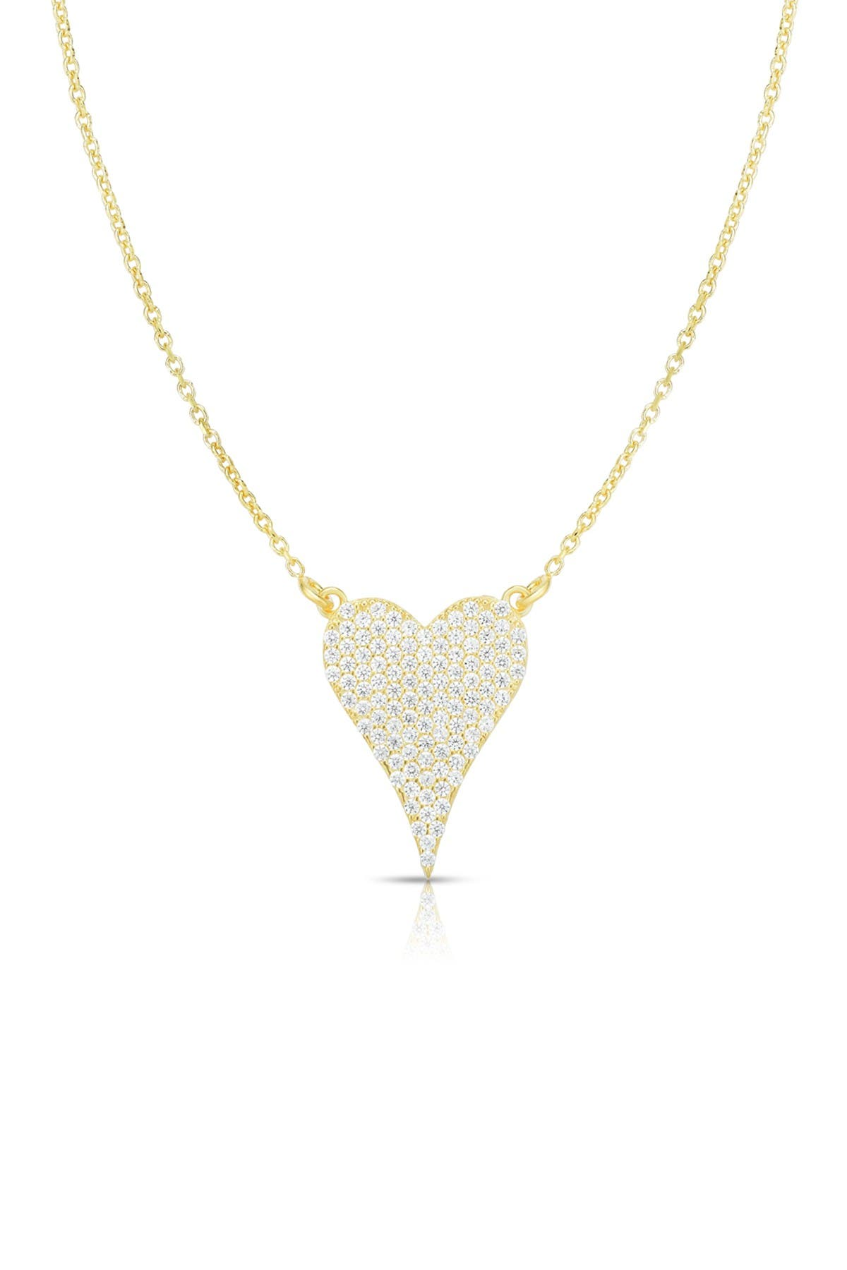 Image of Sphera Milano 14K Yellow Gold Plated Sterling Silver Pave CZ Heart Pendant Necklace