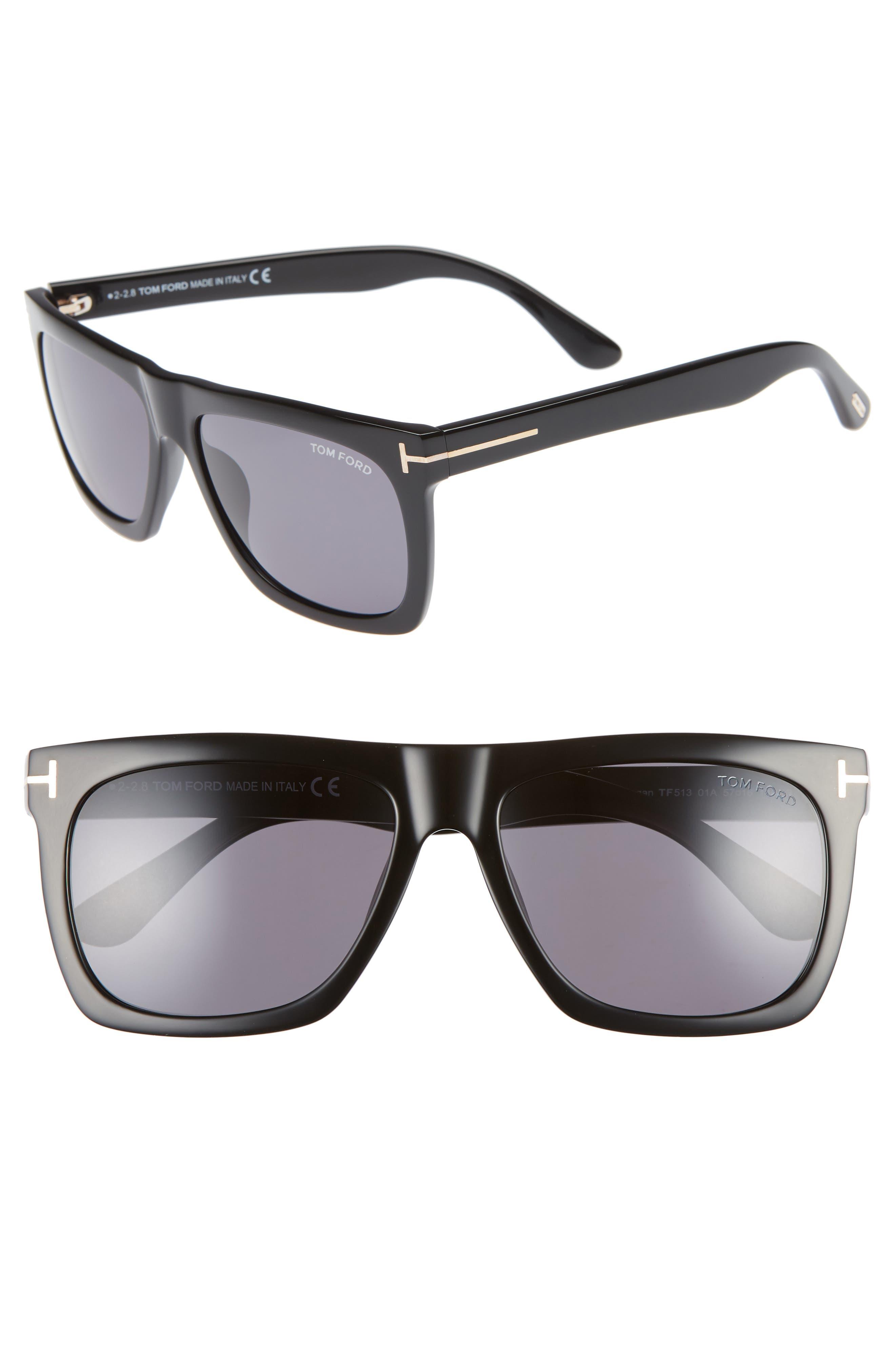 ,                             Morgan 57mm Sunglasses,                             Main thumbnail 1, color,                             SHINY BLACK / SMOKE