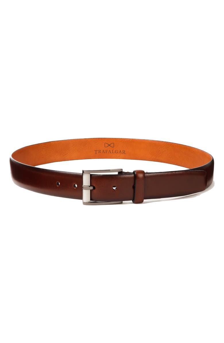 TRAFALGAR Matteo Leather Belt, Main, color, BROWN