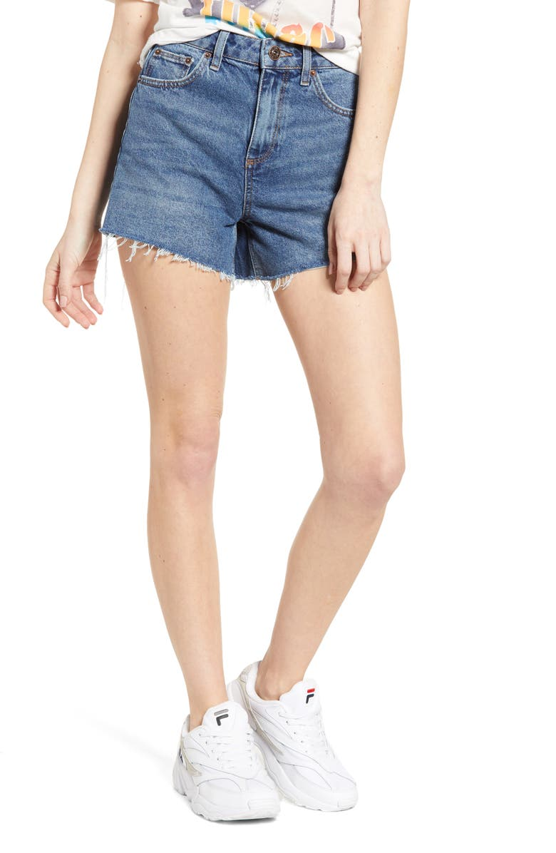 BDG Urban Outfitters High Waist Denim Mom Shorts, Main, color, 400