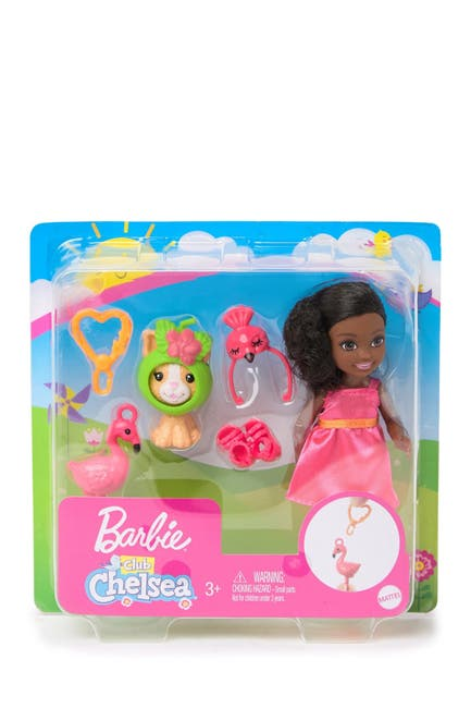 "Image of Mattel Barbie(R)Club Chelsea(TM) Dress-Up Doll in Flamingo Costume 6"" Brunette with Pet Kitten and Accessories"