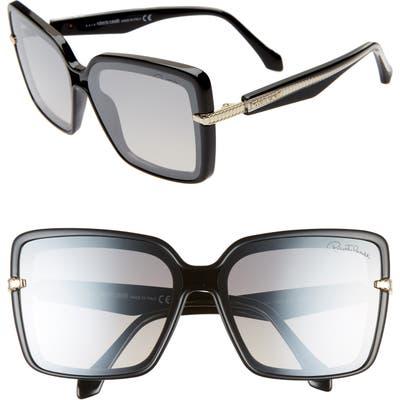 Roberto Cavalli 62Mm Oversize Flat Front Butterfly Sunglasses - Shiny Black/ Smoke Mirror