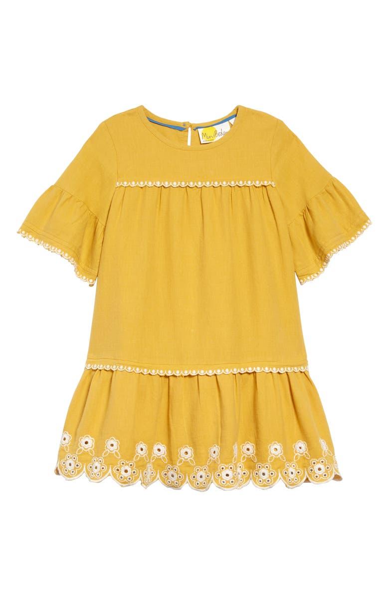 MINI BODEN Drop Waist Embroidered Dress, Main, color, YEL MELLOW YELLOW/ ECRU