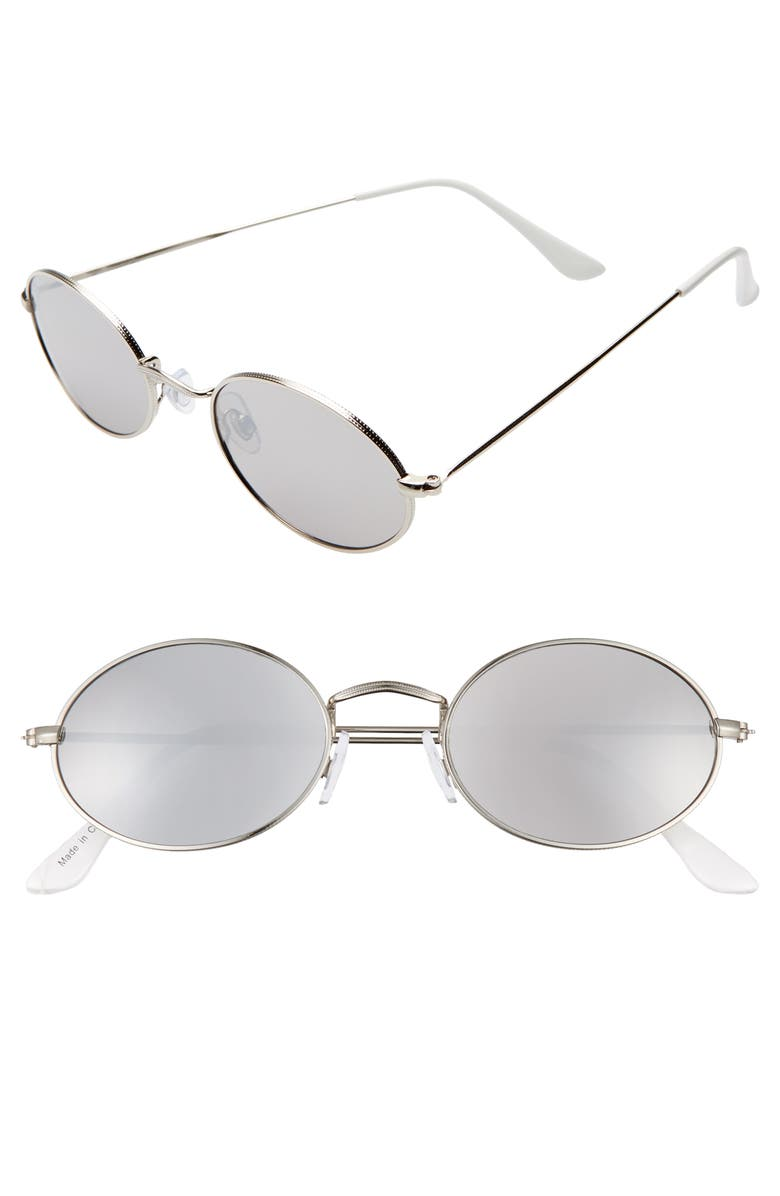 BP. 50mm Narrow Round Sunglasses, Main, color, SILVER
