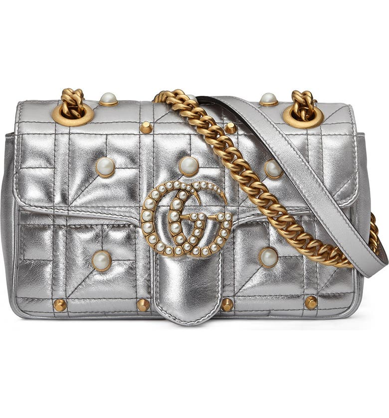 GUCCI Gg Marmont Matelasse Imitation Pearl Leather