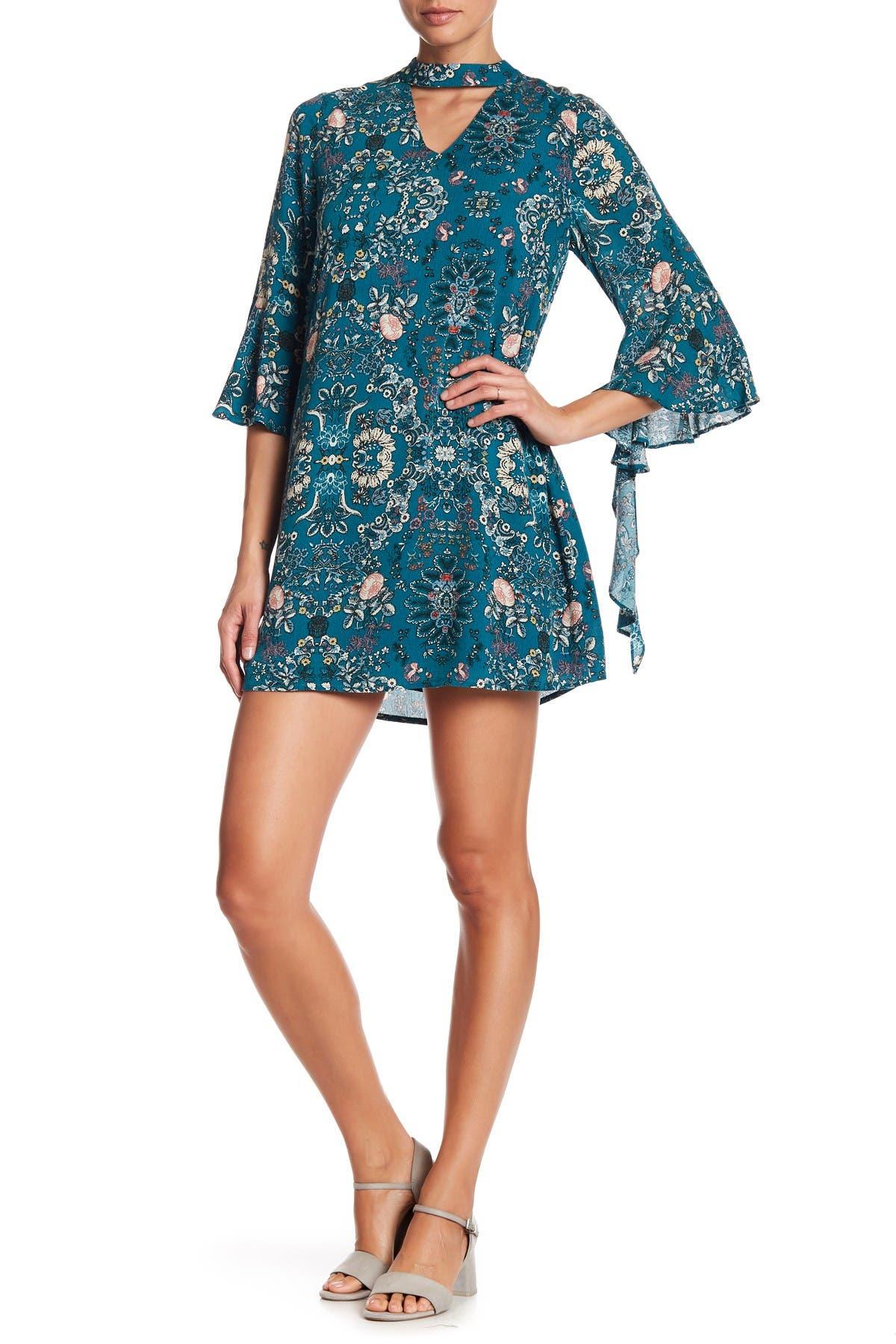Image of Blu Pepper Mock Collar Cutout Floral Dress
