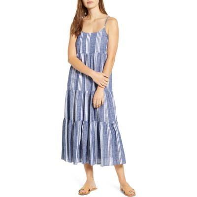 Beachlunchlounge Lana Stripe Linen & Cotton Tiered Midi Sundress, Blue