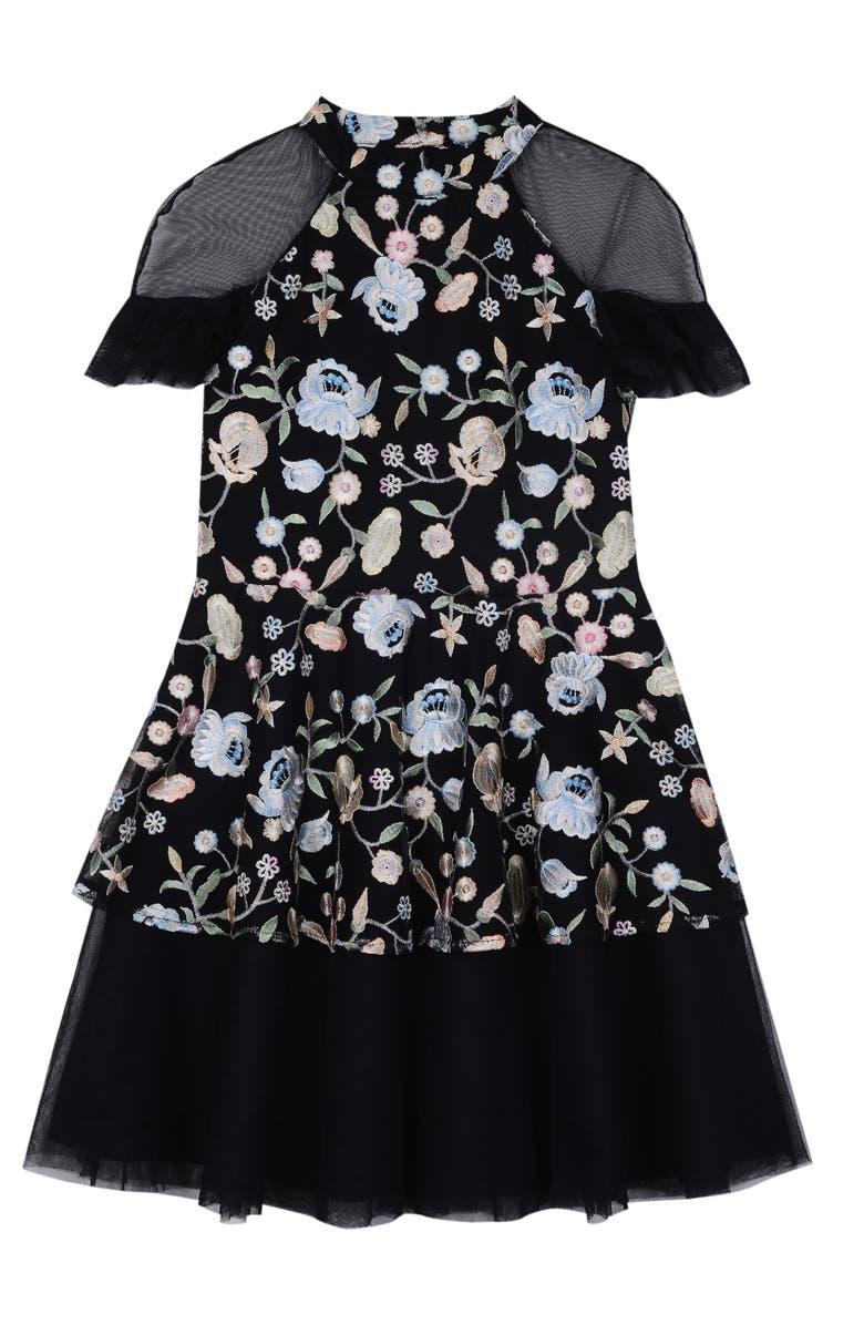 PIPPA & JULIE Embroidered Mesh Dress, Main, color, BLACK