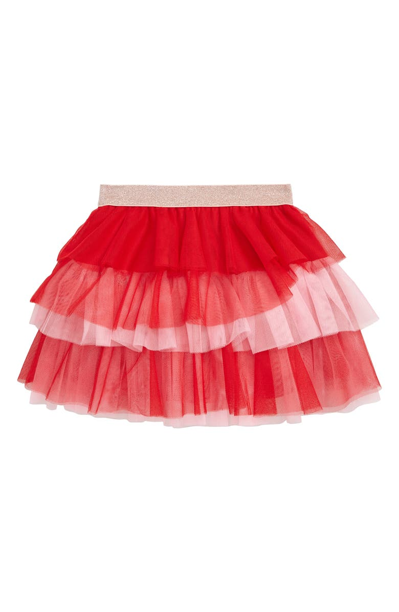 TRULY ME Colorblock Tiered Mesh Skirt, Main, color, PINK