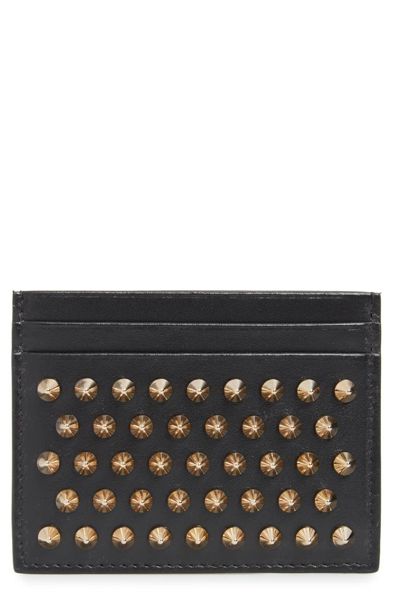 CHRISTIAN LOUBOUTIN 'Kios' Spiked Calfskin Leather Card Case, Main, color, BLACK/ GOLD