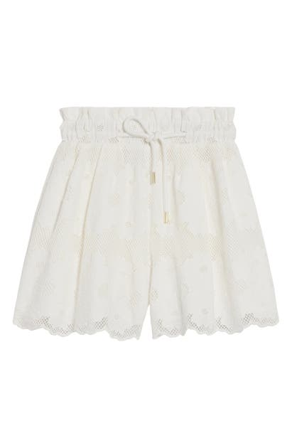 Sandro FLORAL LACE COTTON DRAWSTRING SHORTS