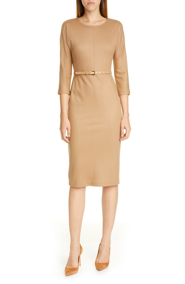 MAX MARA Rovigo Belted Wool Jersey Dress, Main, color, 250
