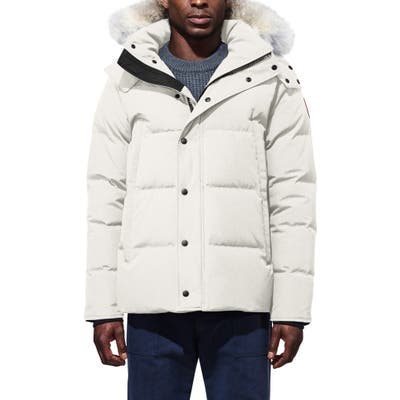 Canada Goose Wyndham Slim Fit Genuine Coyote Fur Trim Down Jacket, Beige