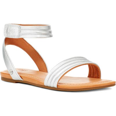 UGG Ethena Metallic Ankle Strap Sandal, Metallic