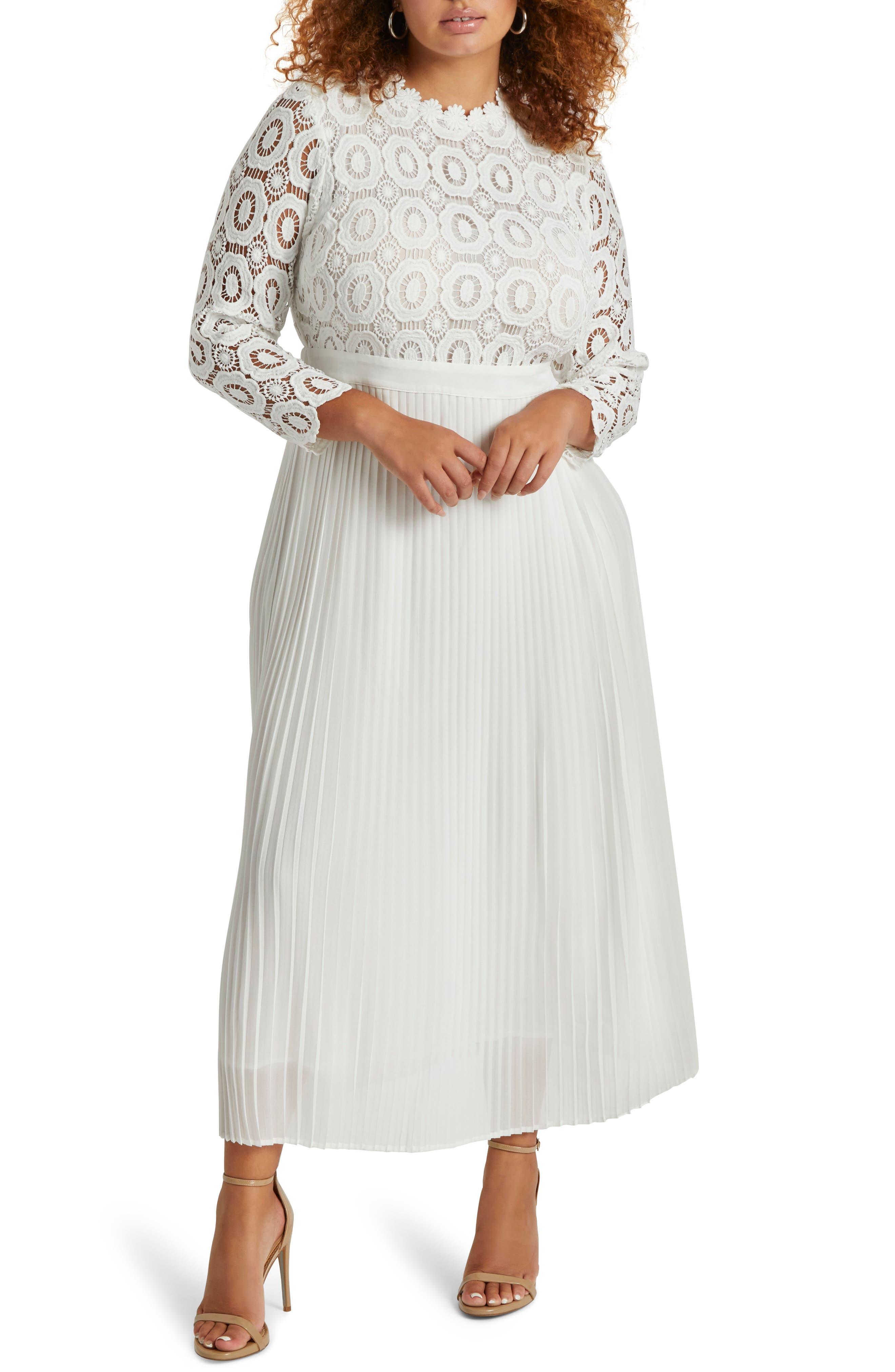 ELOQUII Lace Bodice Pleated Long Sleeve Evening Dress (Plus Size)