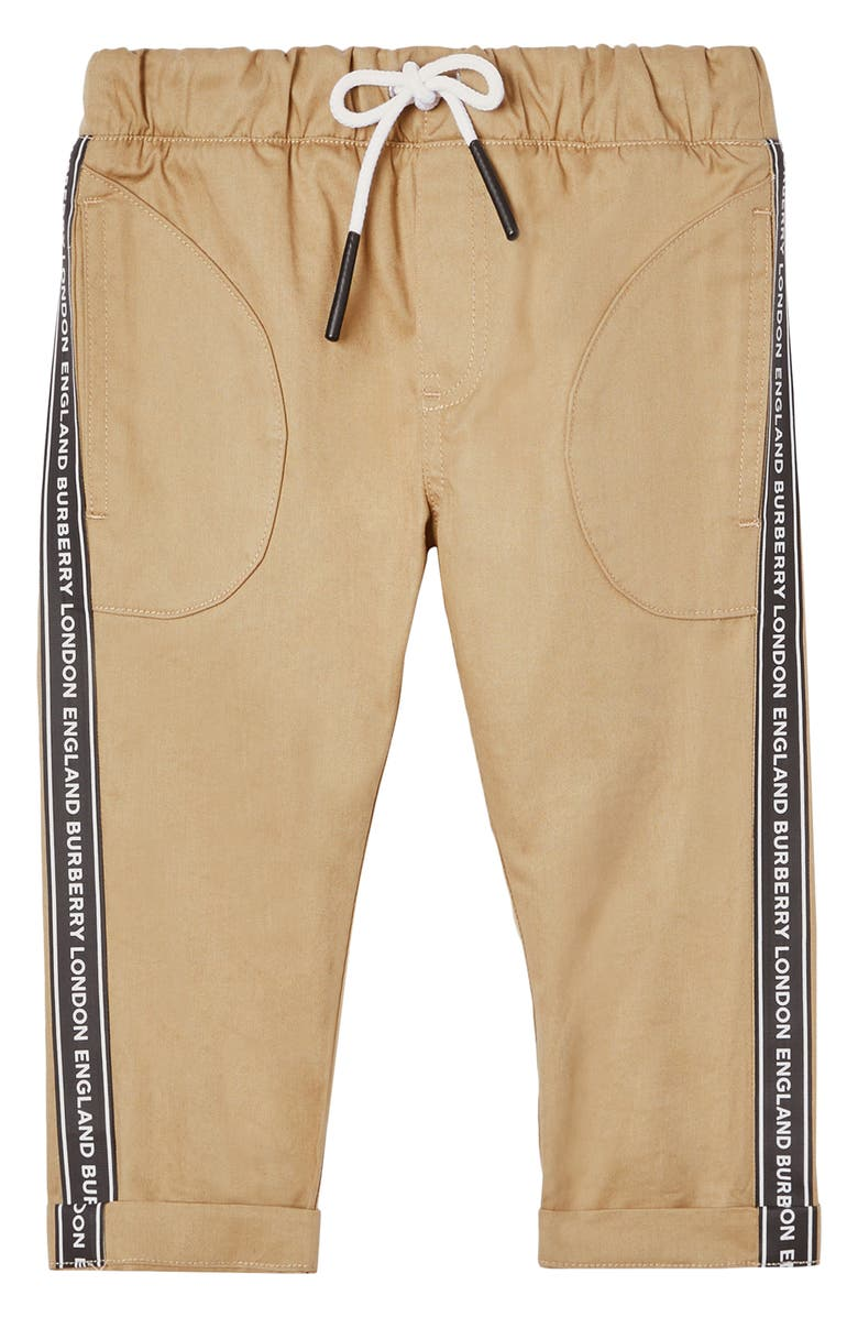 BURBERRY Dash Logo Stripe Pants, Main, color, 201