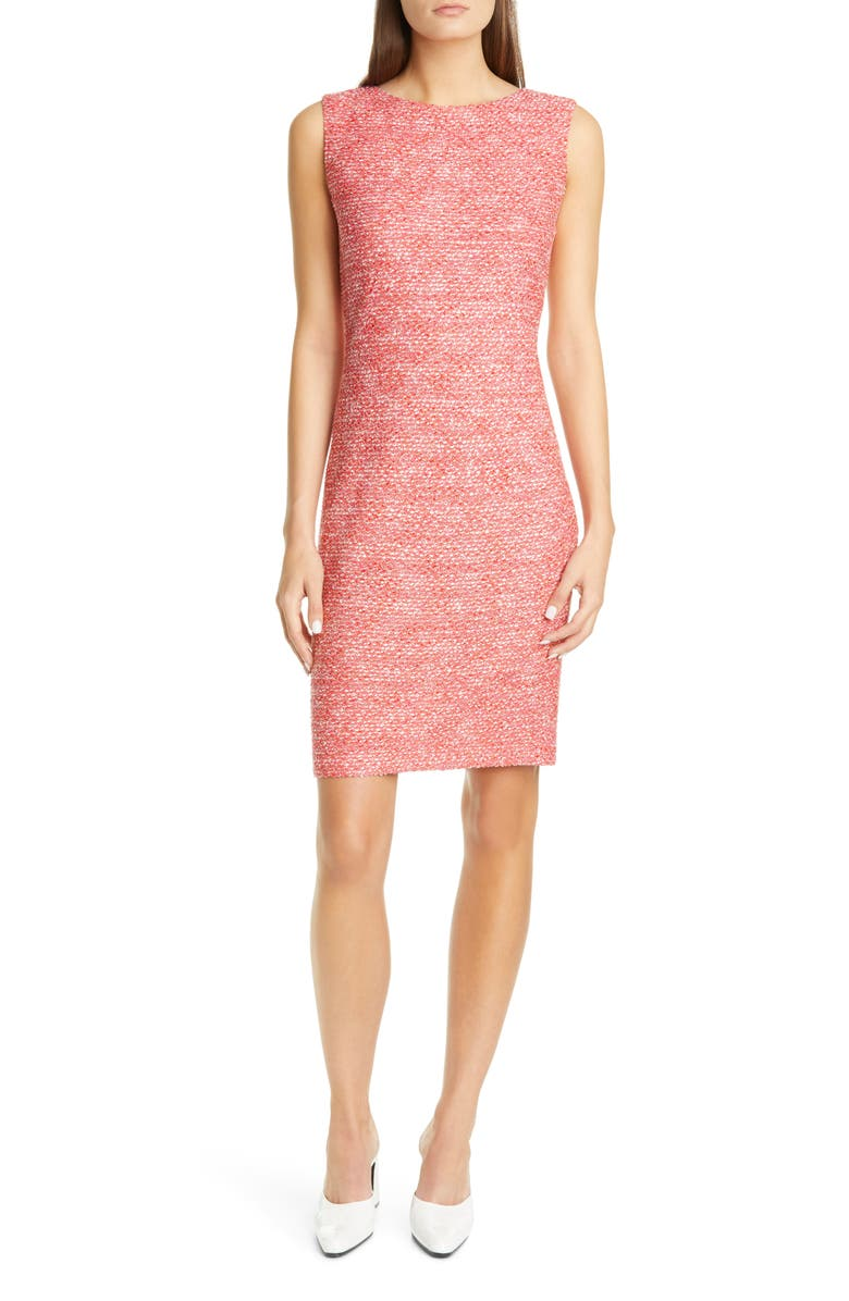 ST. JOHN COLLECTION Marled Space Dyed Tweed Knit Dress, Main, color, CORAL MULTI