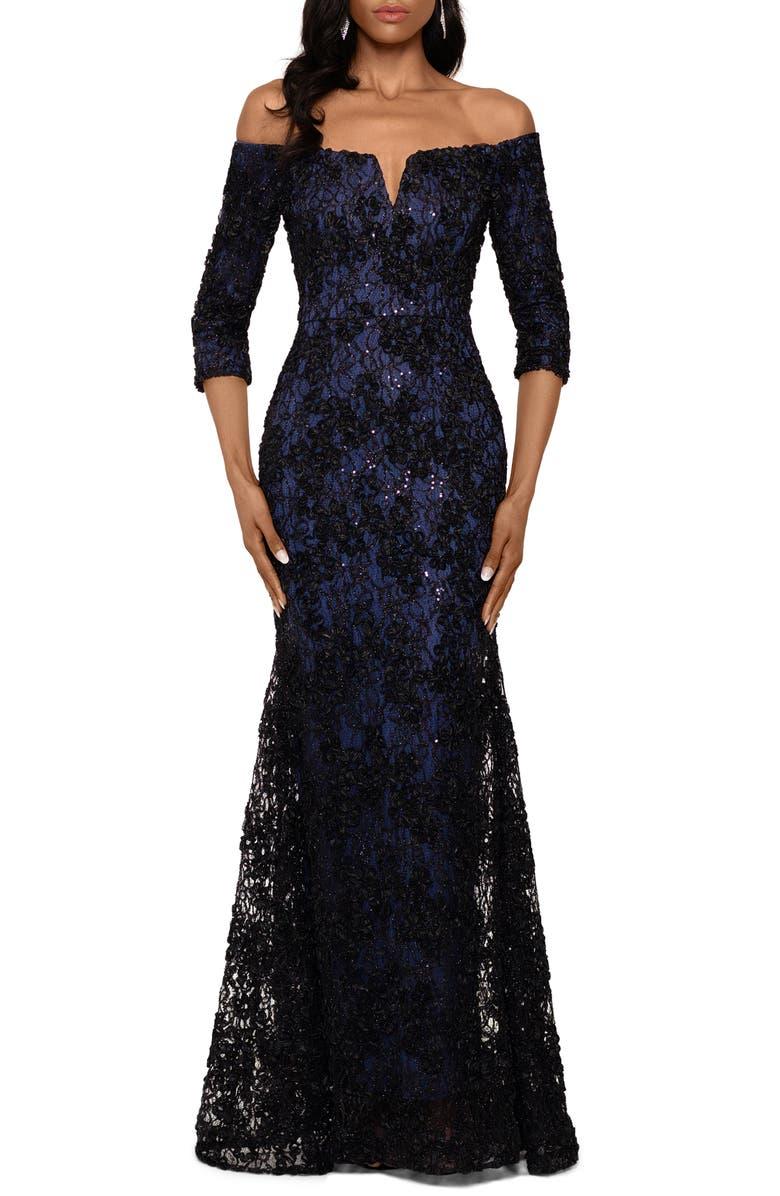 XSCAPE Off the Shoulder Sequin Floral Trumpet Gown, Main, color, BLACK/ NAVY