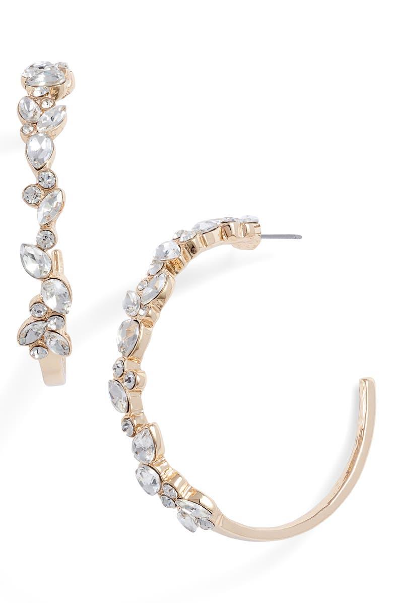 RACHEL PARCELL Mixed Cut Crystal Hoop Earrings, Main, color, 710