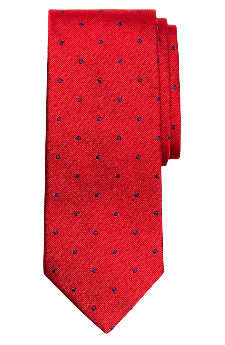 BROOKS BROTHERS Small Dot Silk Tie, Main, color, RED