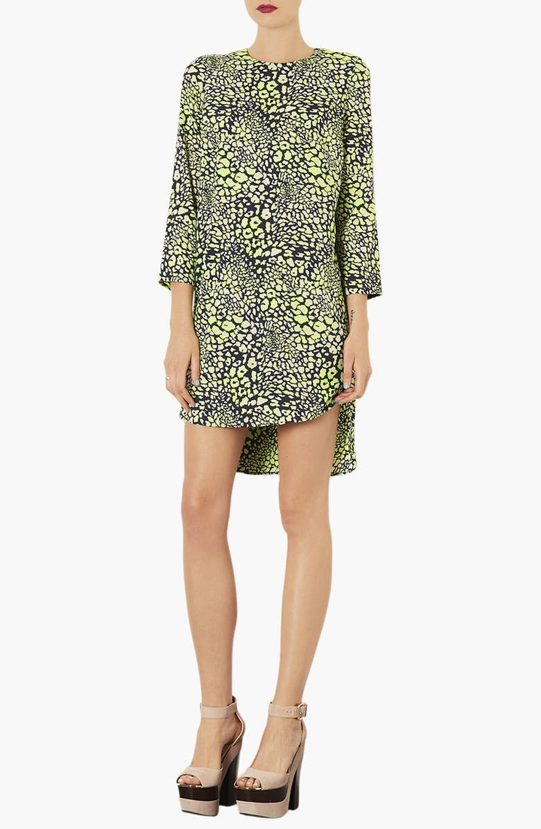 TOPSHOP Animal Print Tunic Dress, Main, color, 330