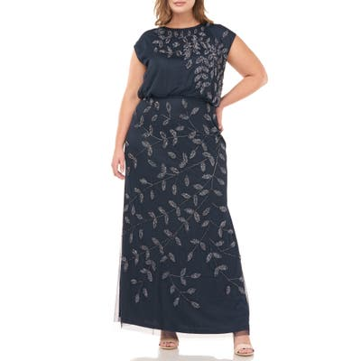 Plus Size Js Collections Beaded Leaf Mesh Trumpet Gown, Blue