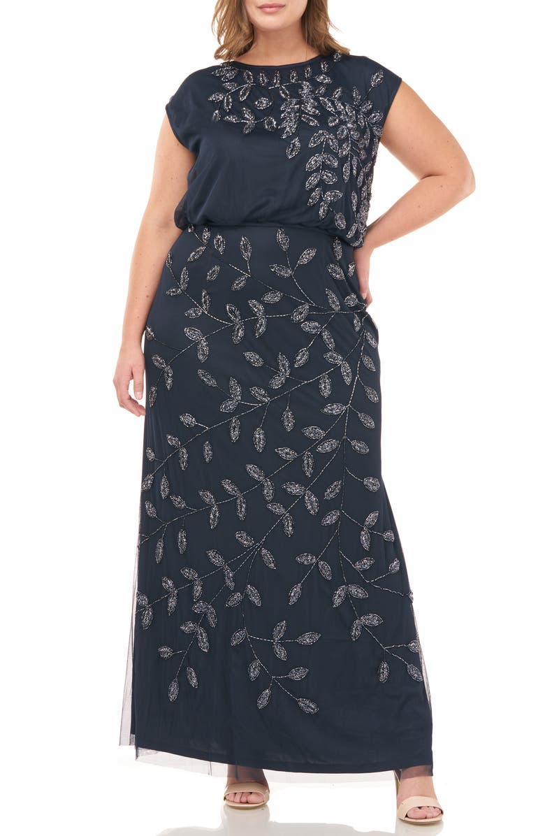 JS COLLECTIONS Beaded Leaf Mesh Trumpet Gown, Main, color, NAVY