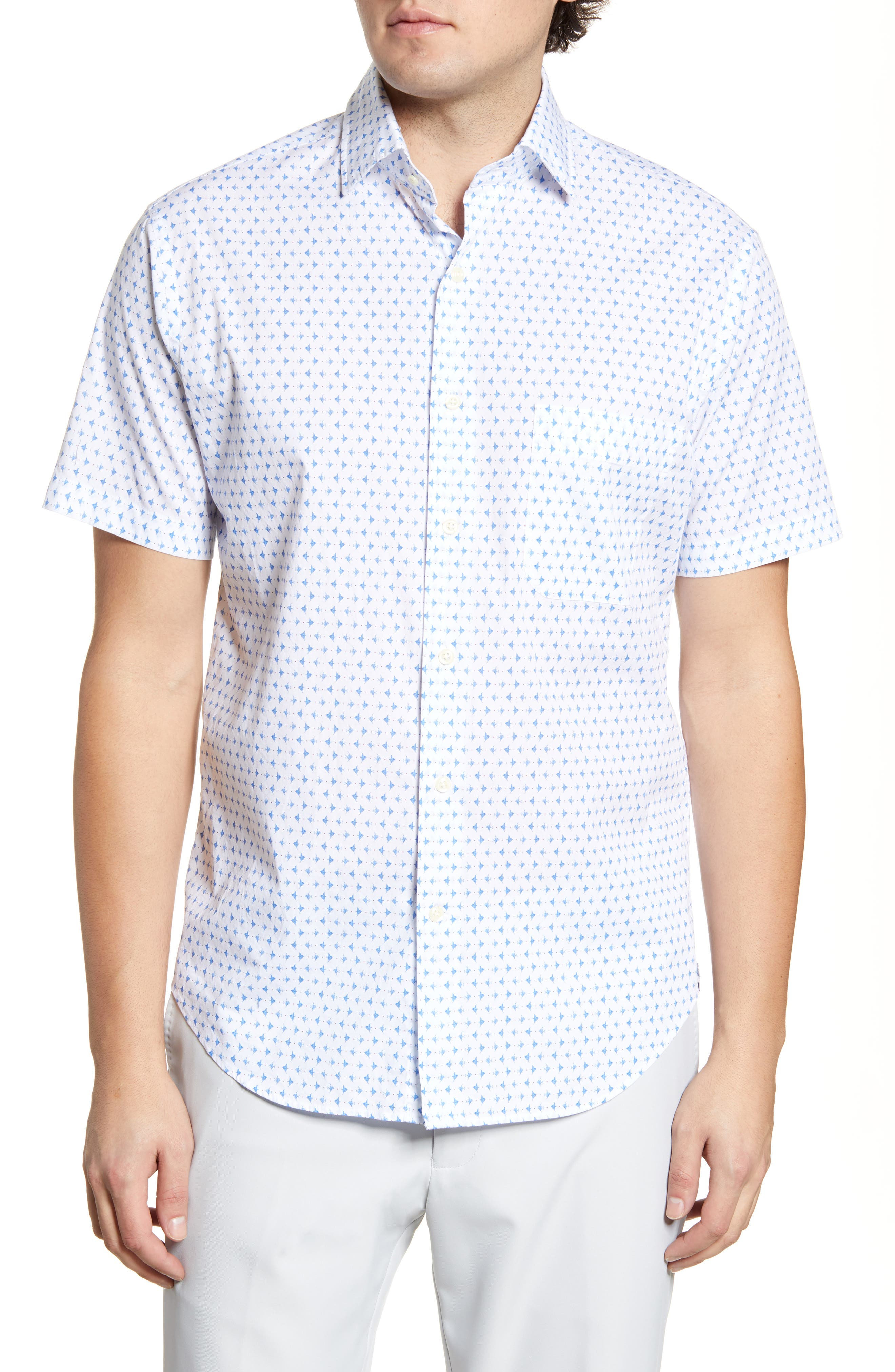 A micro fish print adds a splash of aquatic style to a short-sleeve sport shirt fashioned with a hint of stretch for added comfort. Style Name: Peter Millar Catch Of The Day Regular Fit Short Sleeve Button-Up Shirt. Style Number: 6001253. Available in stores.
