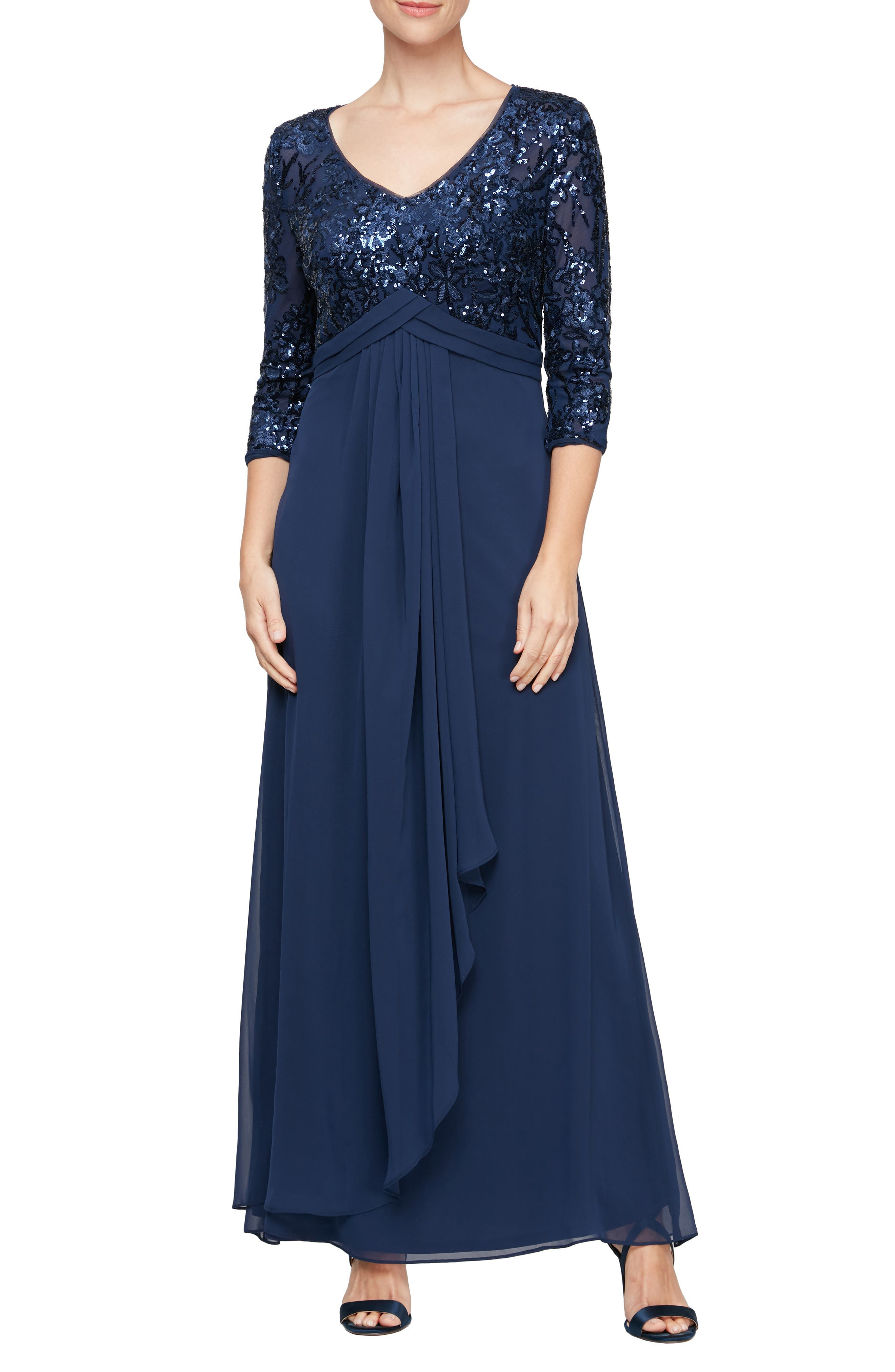 Sequin Three-Quarter Sleeve Gown