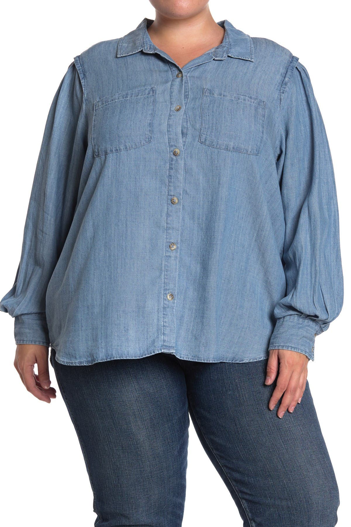 Image of Democracy Chambray Blouson Sleeve Button Front Shirt