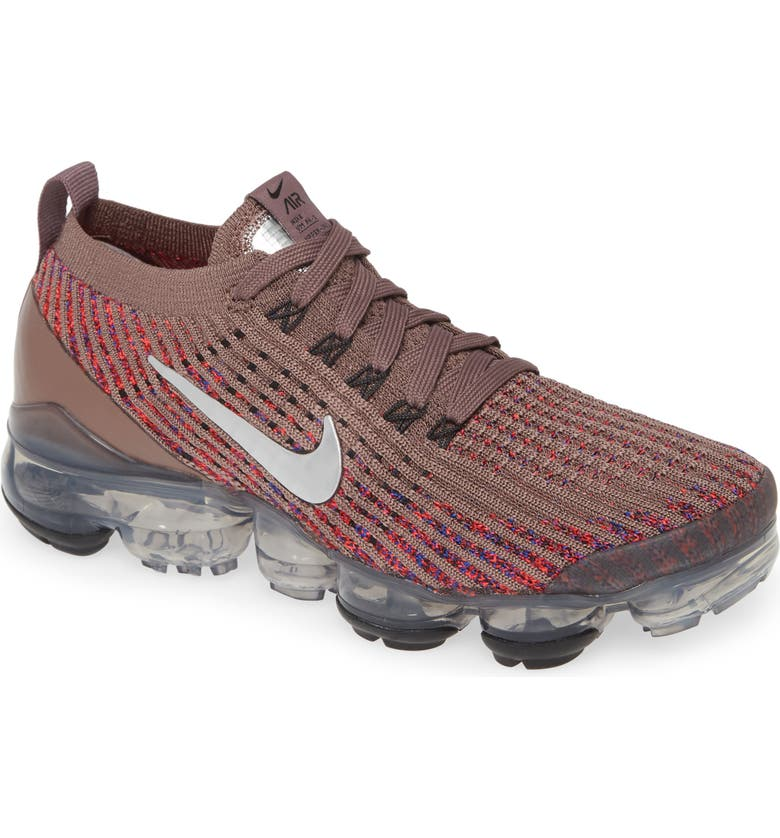 NIKE Air VaporMax Flyknit 3 Sneaker, Main, color, PLUM / SILVER/ RED ORBIT