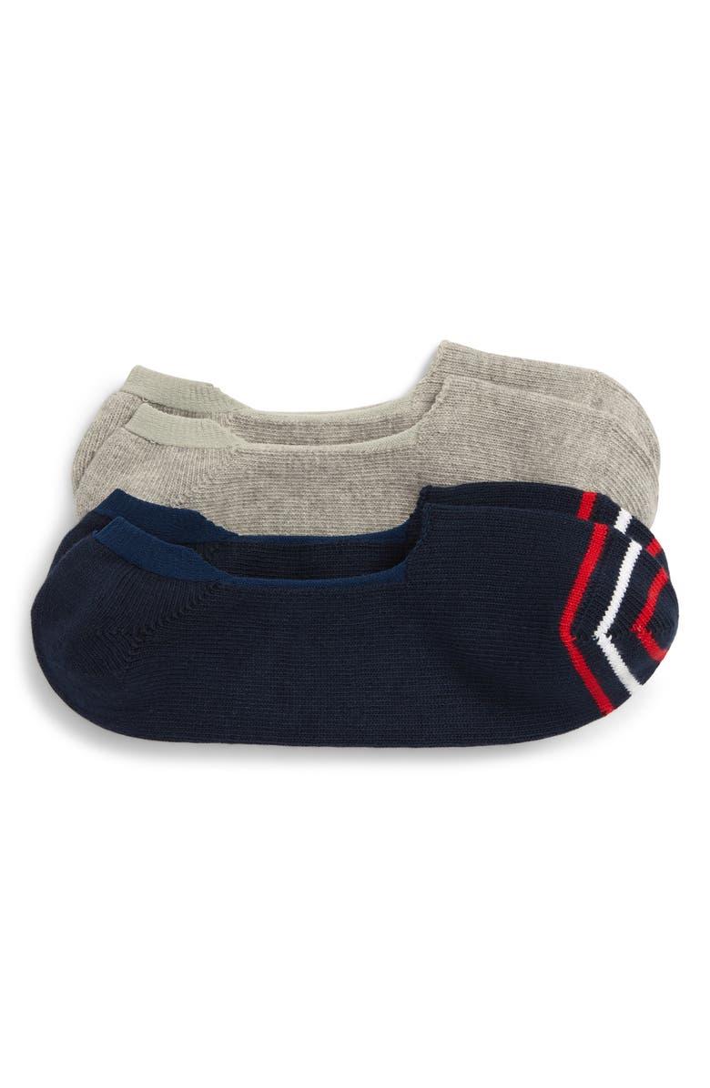 NORDSTROM MEN'S SHOP 2-Pack Liner Socks, Main, color, NAVY/ GREY