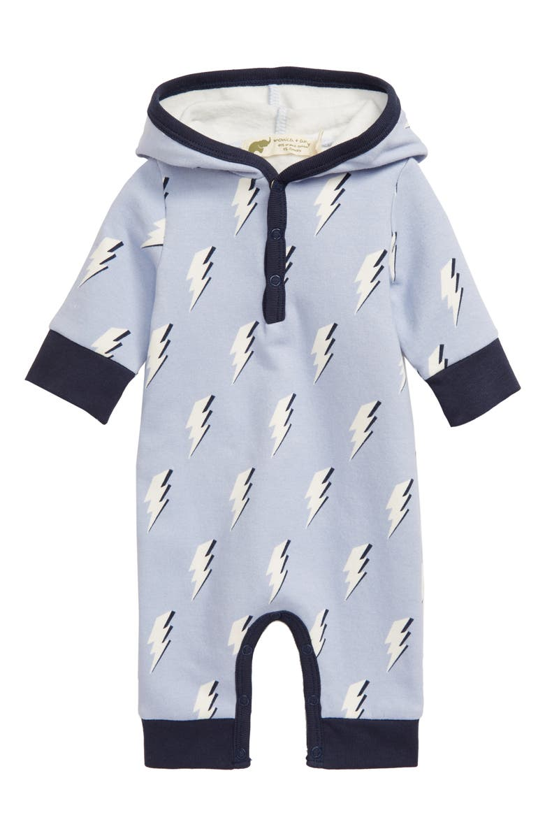 MONICA + ANDY Print Stretch Organic Cotton Hooded Romper, Main, color, BLUE LIGHTNING STRIKE