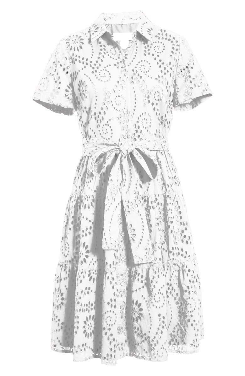 RACHEL PARCELL Tiered Eyelet Shirtdress, Main, color, White