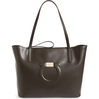 Salvatore Ferragamo City Quilted Gancio Leather Tote - Brown
