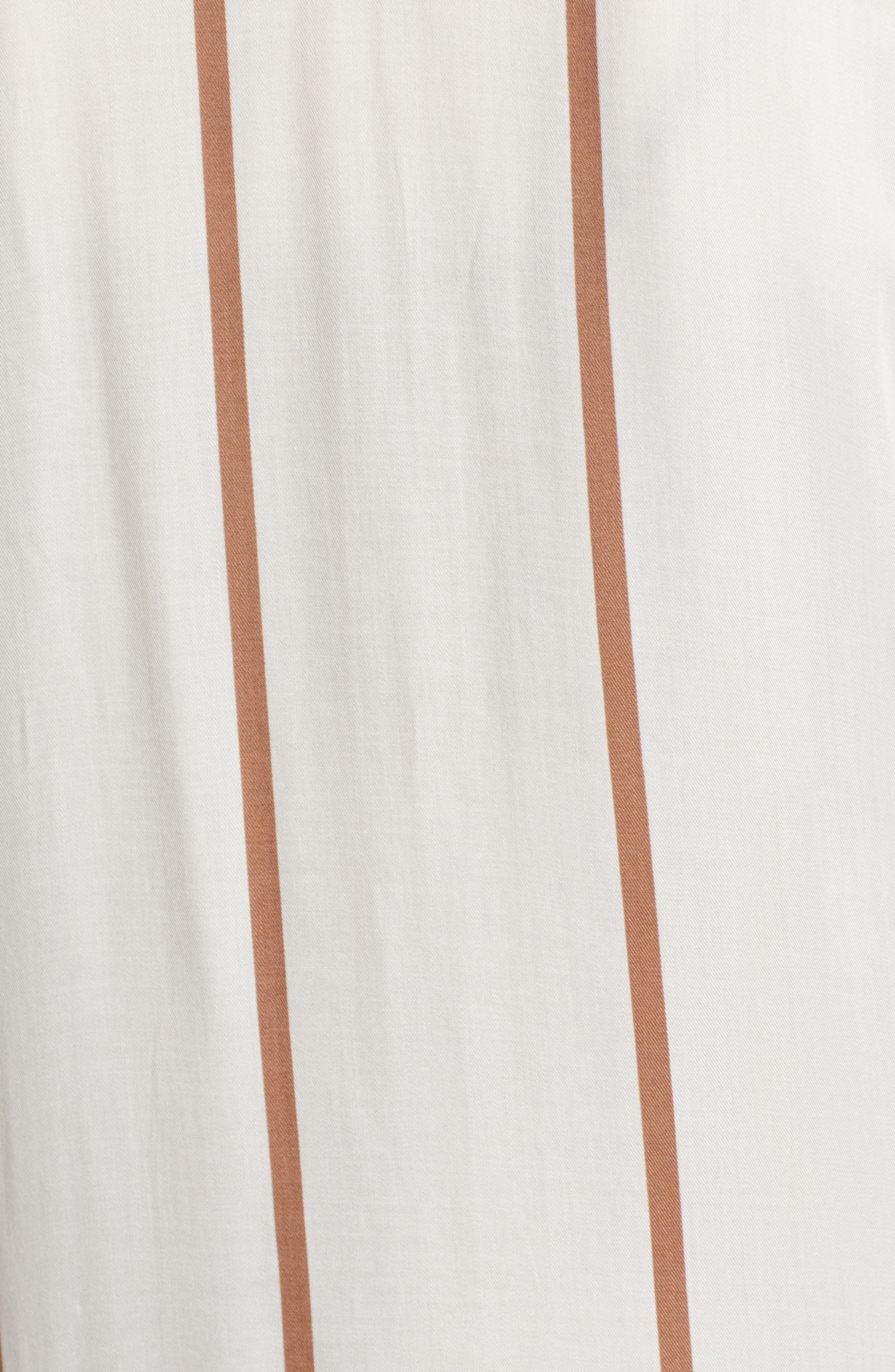 ,                             Stripe Knee Length Blazer,                             Alternate thumbnail 6, color,                             IVORY-BROWN STRIPE