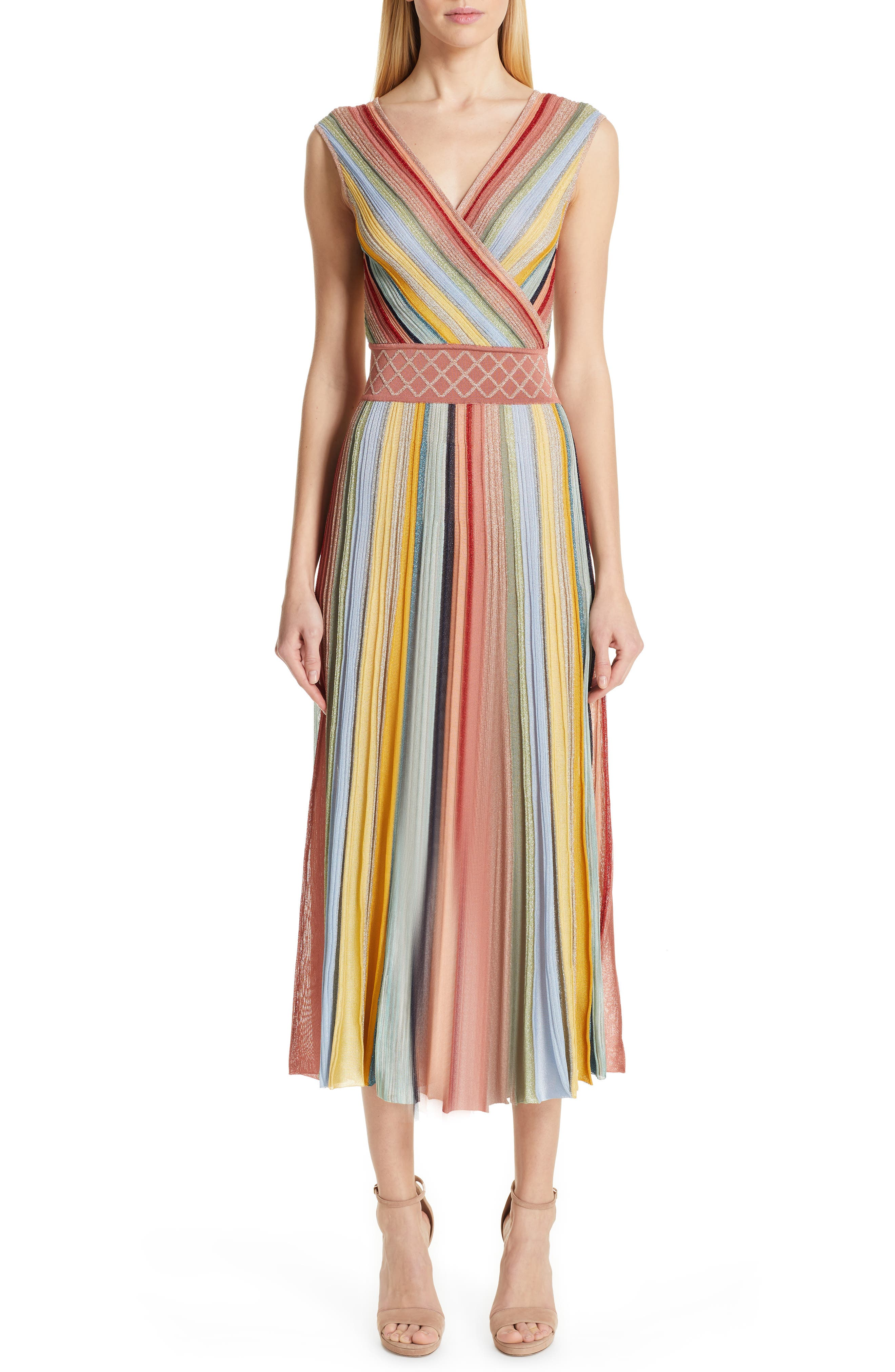 Missoni Reversible Metallic Stripe Sweater Dress, US / 44 IT - Coral