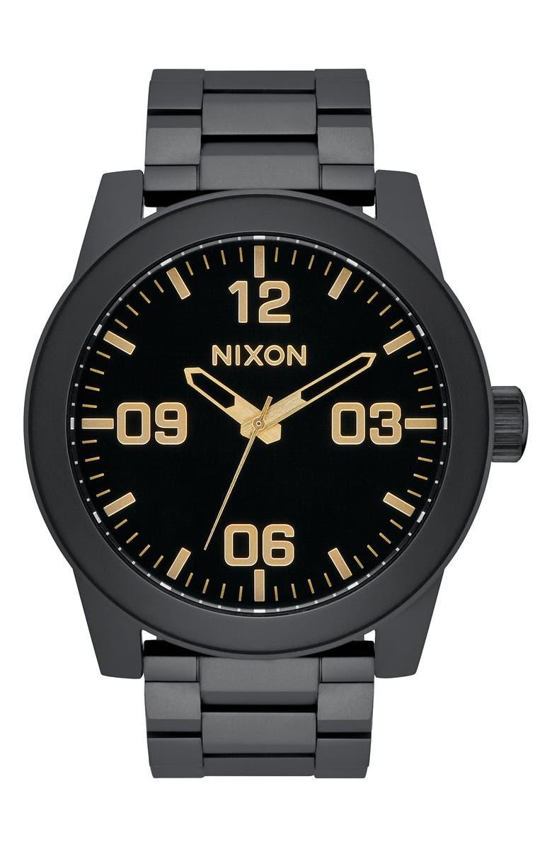 NIXON Corporal Bracelet Watch, 48mm, Main, color, BLACK/ GOLD/ BLACK