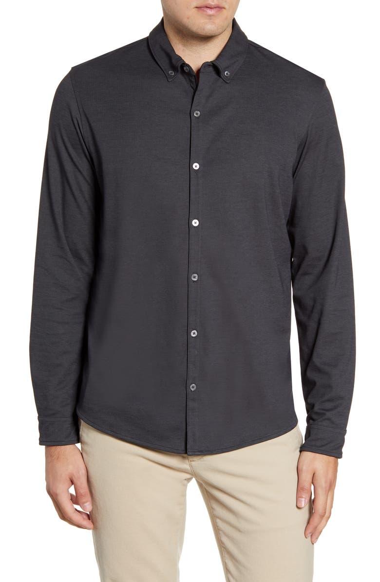 ZACHARY PRELL Glacier Regular Fit Button-Down Cotton Blend Knit Shirt, Main, color, 001