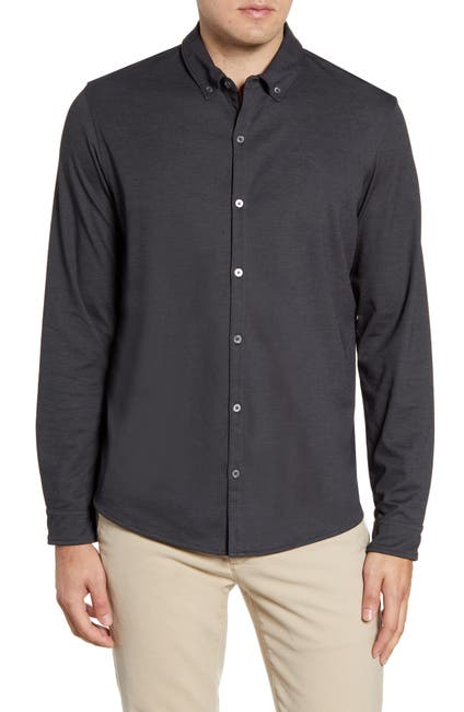 Image of Zachary Prell Glacier Regular Fit Button-Down Cotton Blend Knit Shirt