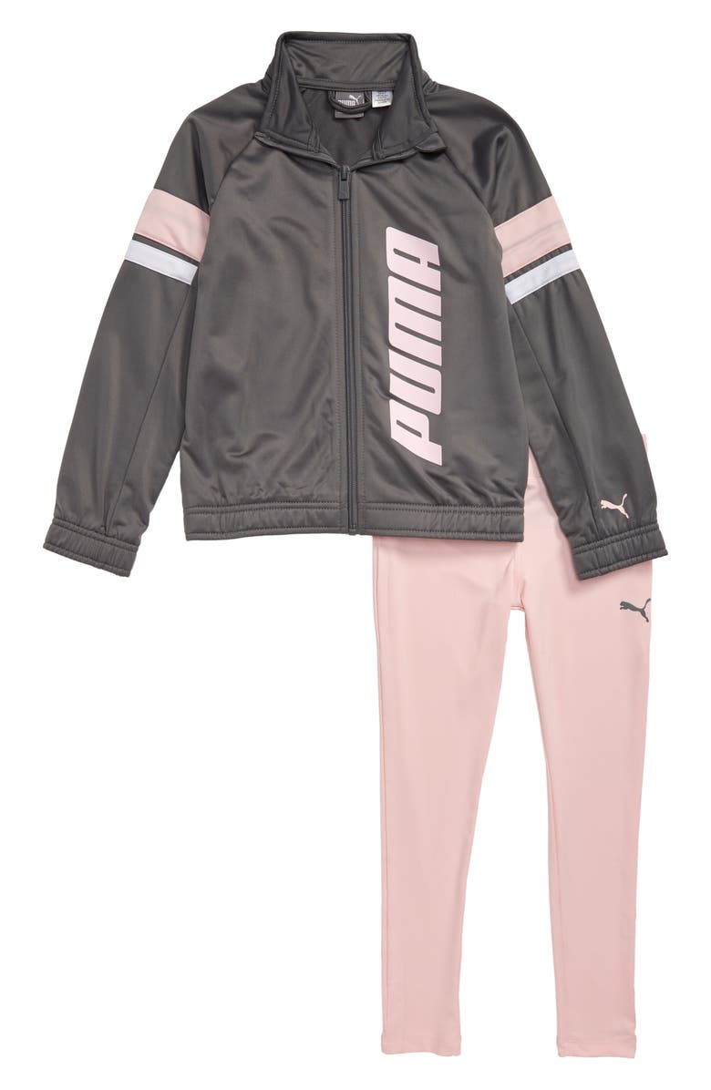 PUMA Track Jacket & Leggings Set, Main, color, CASTLE ROCK