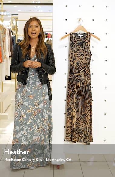 Tiger Print Sleeveless Mesh Midi Dress, sales video thumbnail