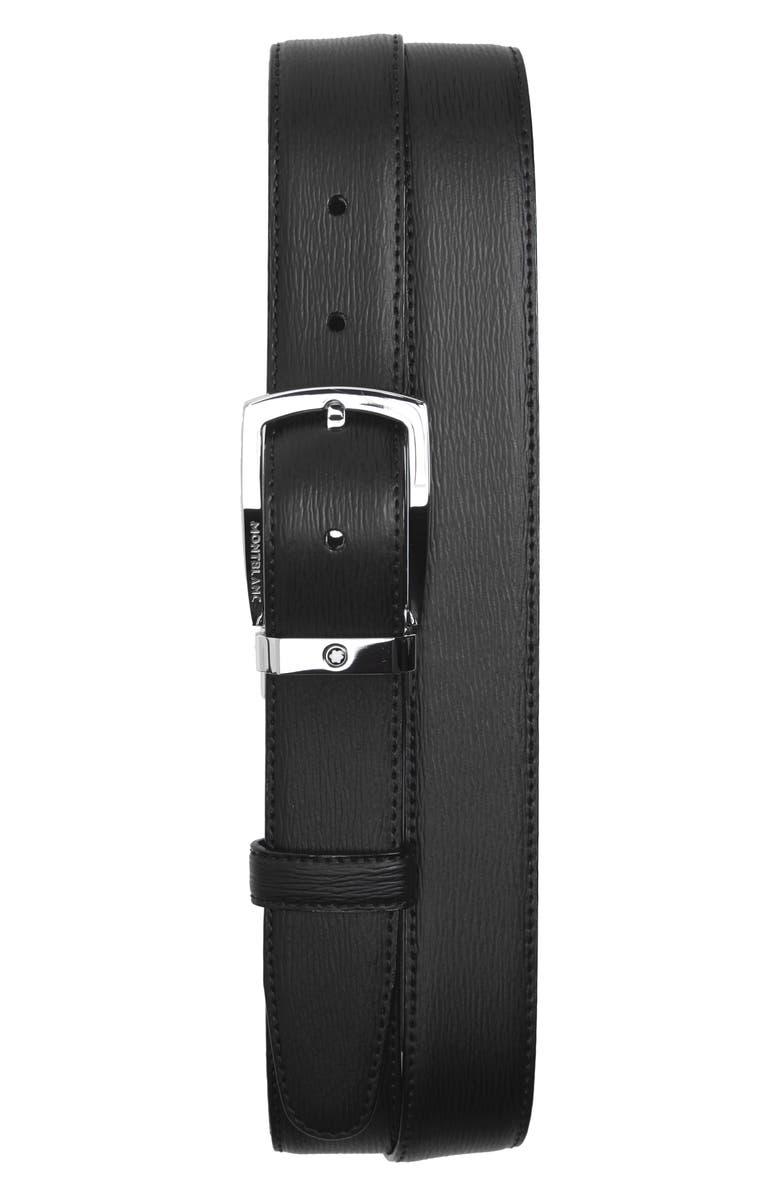 MONTBLANC Westside Reversible Sartorial Leather Belt, Main, color, BLACK