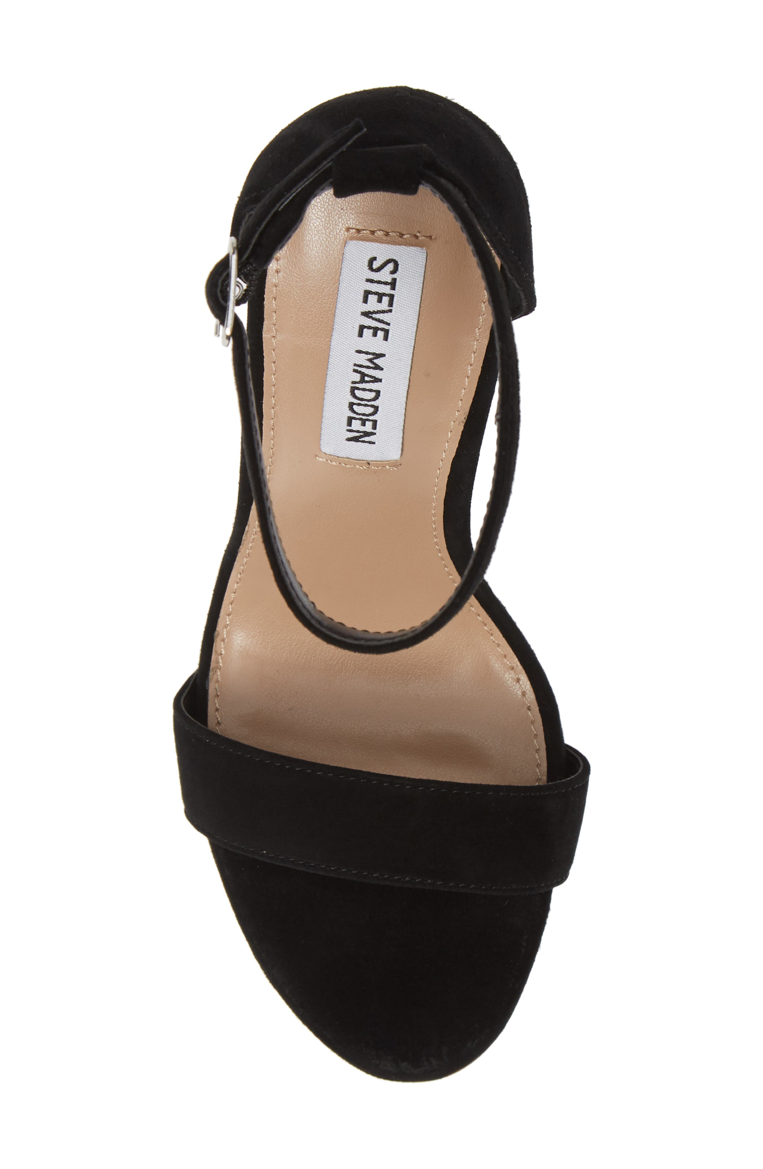 ,                             Mary Ankle Strap Wedge,                             Alternate thumbnail 5, color,                             BLACK SUEDE