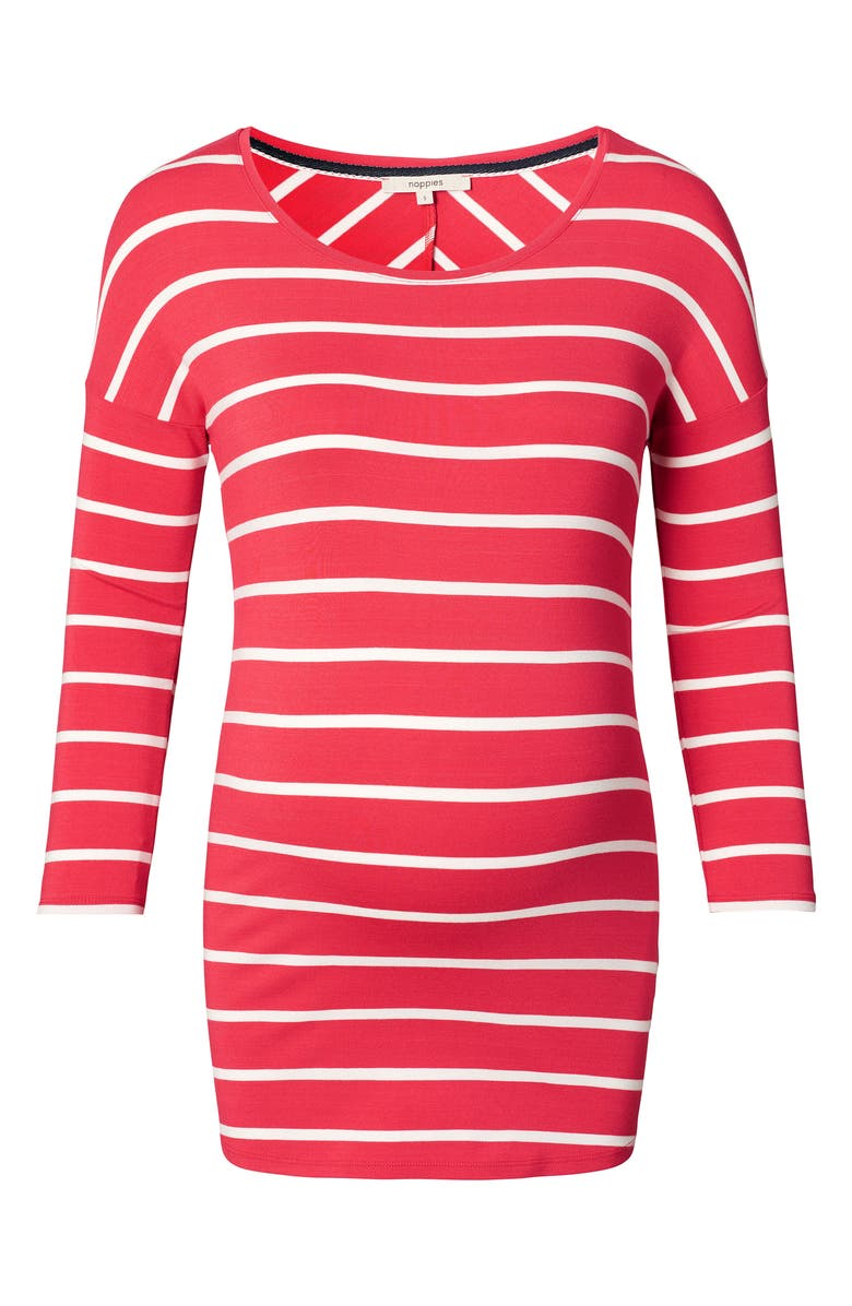 NOPPIES Lila Stripe Maternity Tee, Main, color, RED