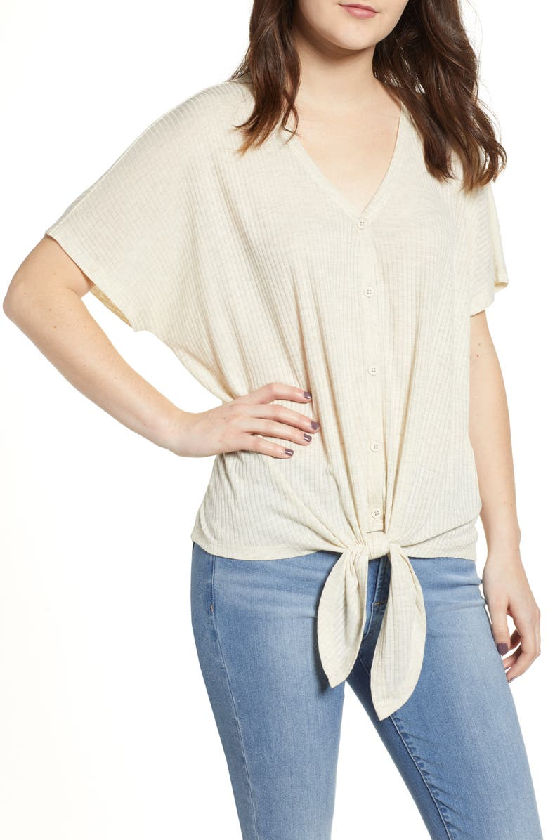 BP. Button Front Knot Hem Tee, Main, color, BEIGE OATMEAL LIGHT HEATHER