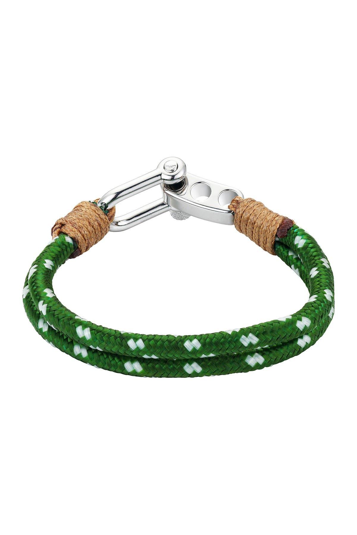 Image of LA Rocks Green & White Cord Paracord Men's Bracelet