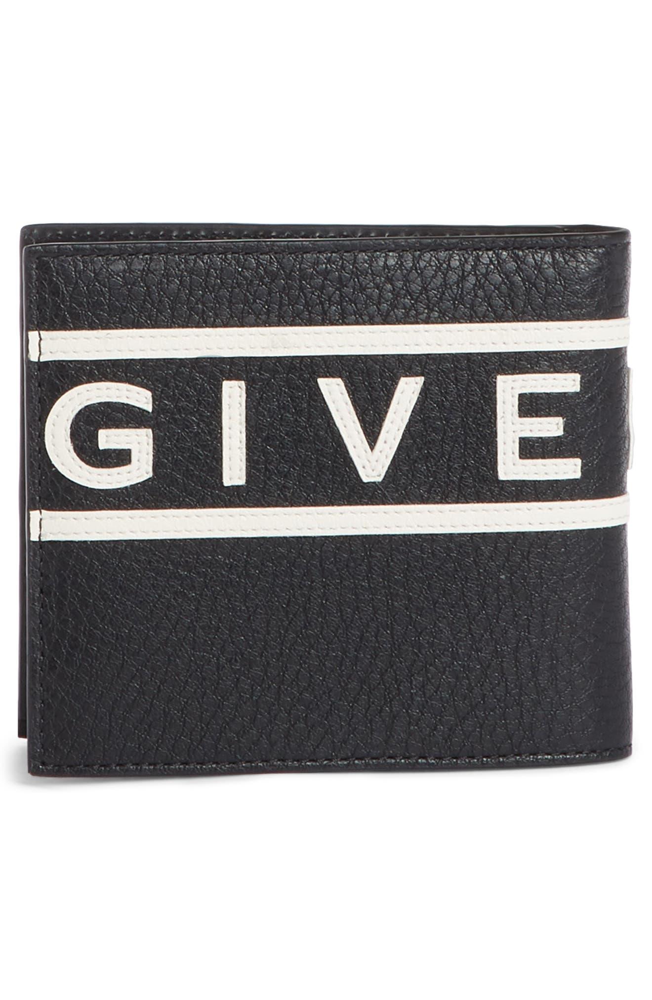 ,                             Logo Calfskin Leather Wallet,                             Alternate thumbnail 3, color,                             BLACK
