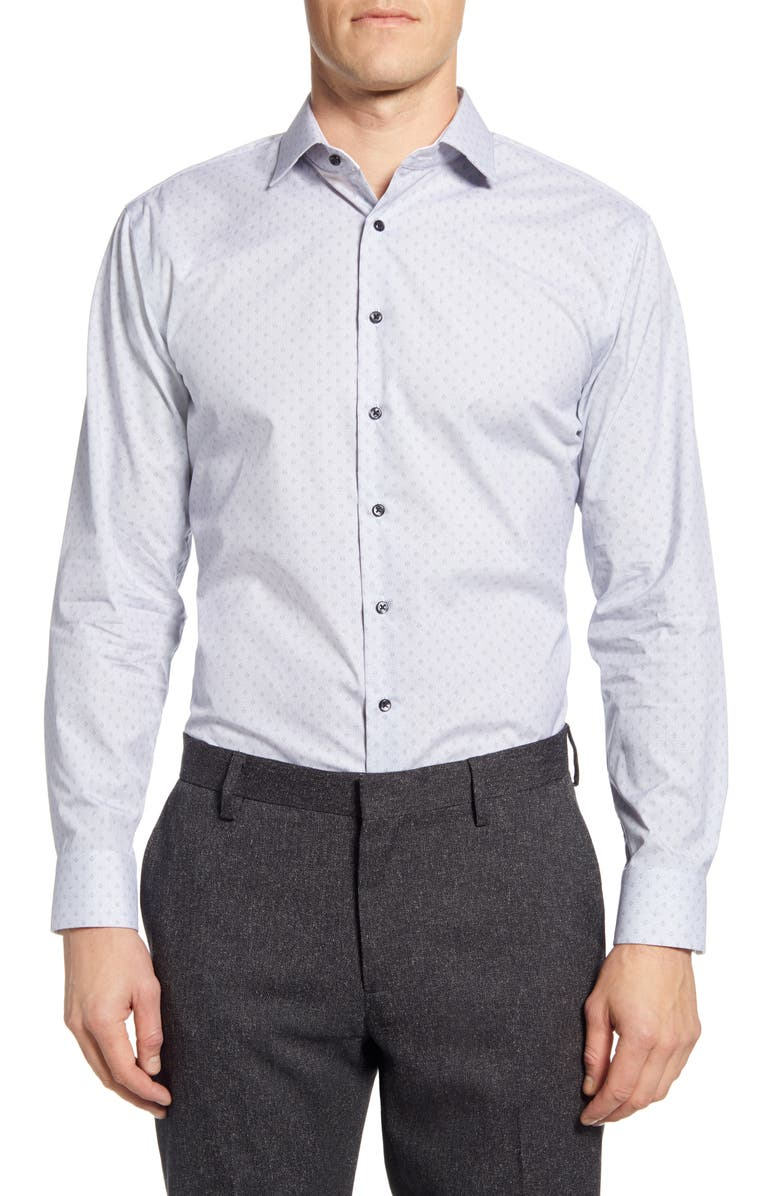 NORDSTROM MEN'S SHOP Trim Fit Non-Iron Dress Shirt, Main, color, 420