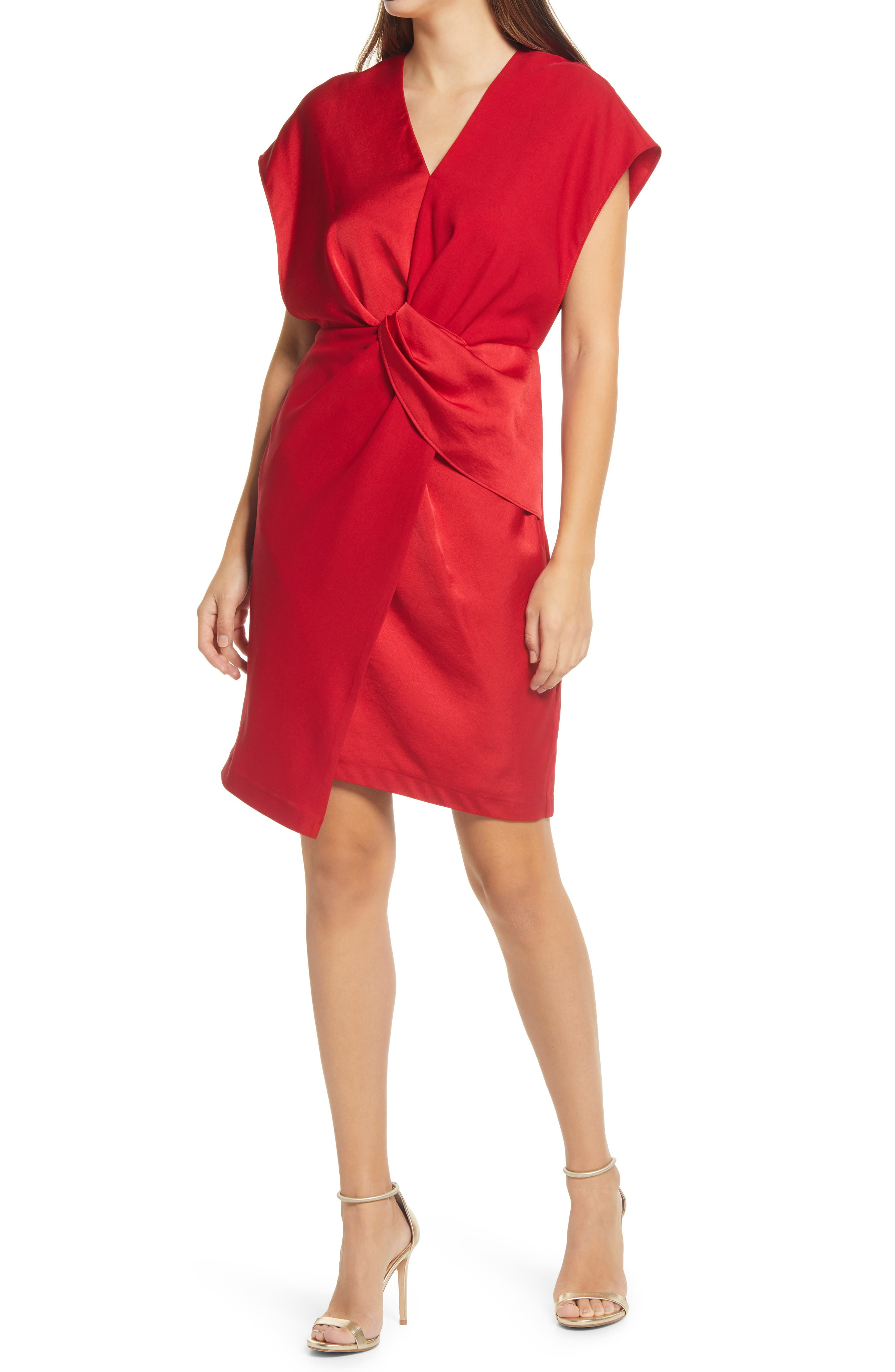 Harlyn Texture Mix Twist Front Cocktail Dress   Nordstrom